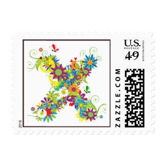 Flower Blossom Monogram X Postage