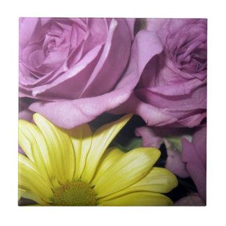 Flower Blossoms Daisy Roses Love Destiny Small Square Tile