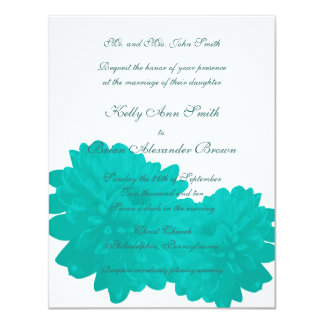Flower (Blue) Small Rectangular Invitation