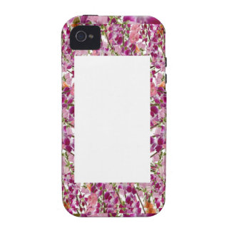 FLOWER BORDER Box - Add your text or image iPhone 4 Cover