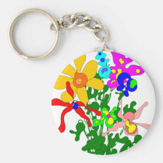 Flower bouquet, bright colors, orchids keychain