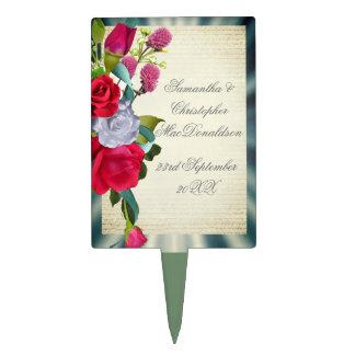 Flower bouquet floral romantic wedding cake topper