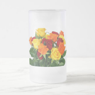 Flower Bouquet Frosted Glass Beer Mug