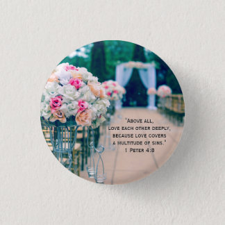 Flower Bouquet Love and Wedding Aisle Bible Verse Button