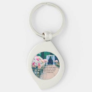 Flower Bouquet Love and Wedding Aisle Bible Verse Keychain