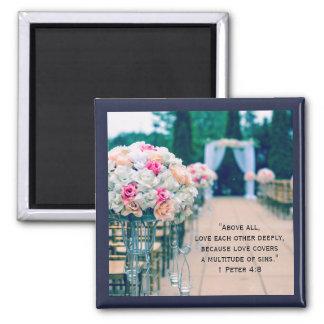 Flower Bouquet Love and Wedding Aisle Bible Verse Magnet