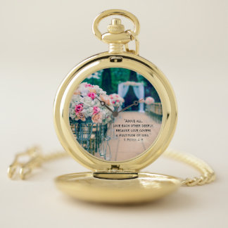 Flower Bouquet Love and Wedding Aisle Bible Verse Pocket Watch