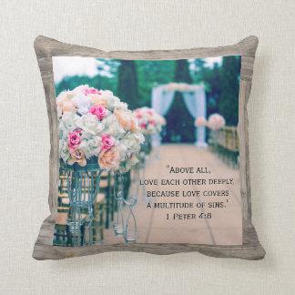 Flower Bouquet Love and Wedding Aisle Bible Verse Throw Pillow