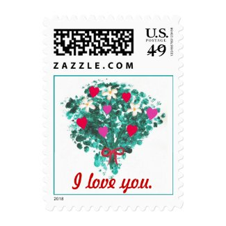 Flower bouquet red & pink hearts I love you Stamps