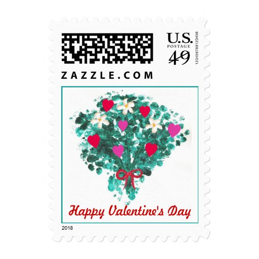 Flower bouquet red & pink hearts Valentines Stamps