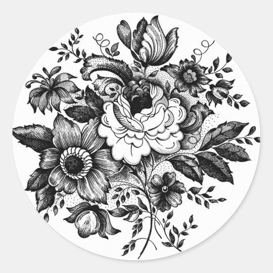 Flower Bouquet Silhouette Classic Round Sticker