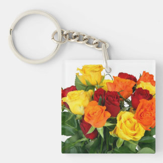 Flower Bouquet Single-Sided Square Acrylic Keychain