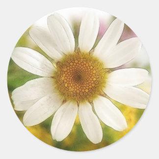 Flower Bouquet - White Daisy Classic Round Sticker