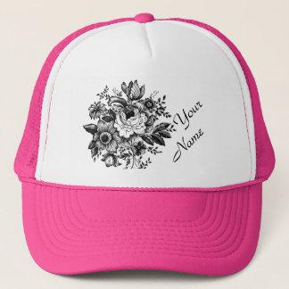 Flower Bouquet Your Name Pink Lady Trucker Trucker Hat