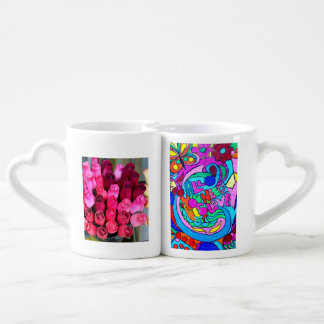 flower bouquets and hippie love mug set