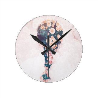 Flower Braid Pastel Pink White Round Wall Round Clock