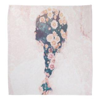 Flower Braid Pastel Pink White Square Bandana