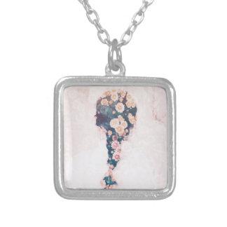 Flower Braid Pastel Pink White Square Square Pendant Necklace