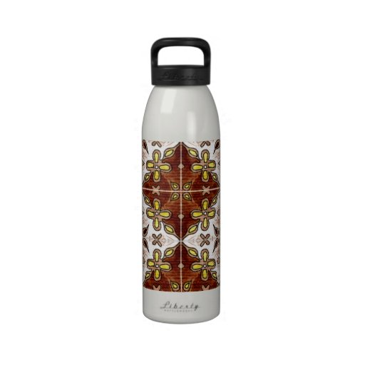 Flower Brown Inspired by Portuguese Azulejos Water Bottle