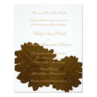 Flower (Brown) Small Rectangular Invitation