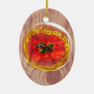 Flower Bubble across wood Ceramic Ornament