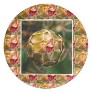Flower BUD : Elegant Diamond Ruby like LOOK Love Dinner Plates