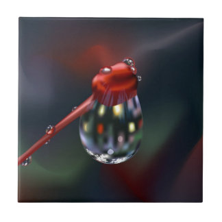 Flower Bud with Water Drop Ceramic Tile