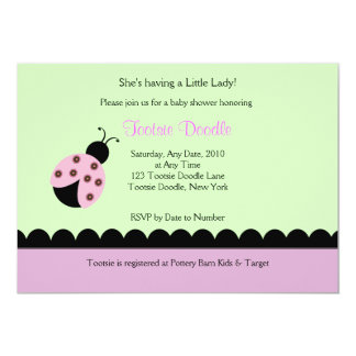 Flower Bug Lady Bug Baby Shower Invitation