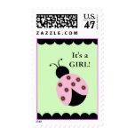 FLOWER BUG ladybug Light Green Postage Stamps