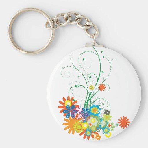flower bunches of swirls vector basic round button keychain