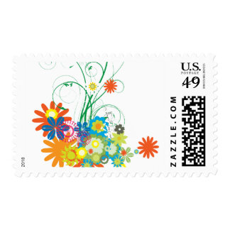 flower bunches of swirls vector postage
