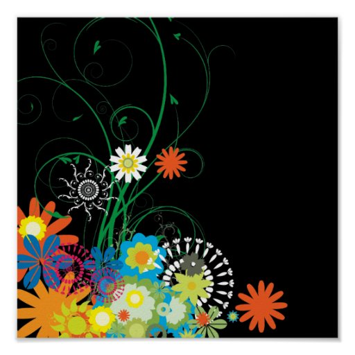 flower bunches of swirls vector poster