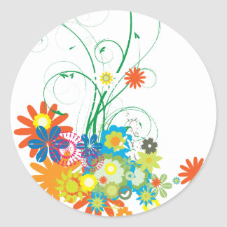 flower bunches of swirls vector sticker