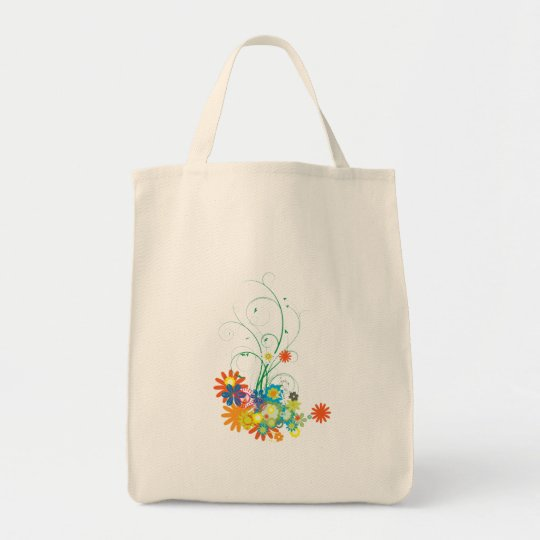 flower bunches of swirls vector tote bag