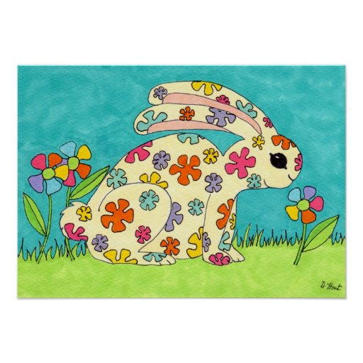 Flower Bunny Posters