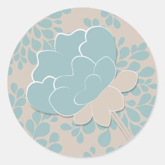 Flower Burst  Wedding Seal Classic Round Sticker