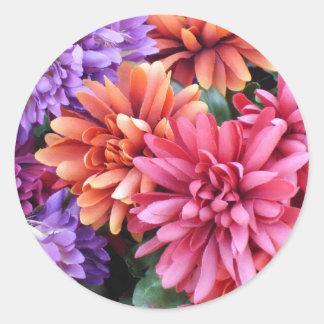 Flower Bursts Classic Round Sticker