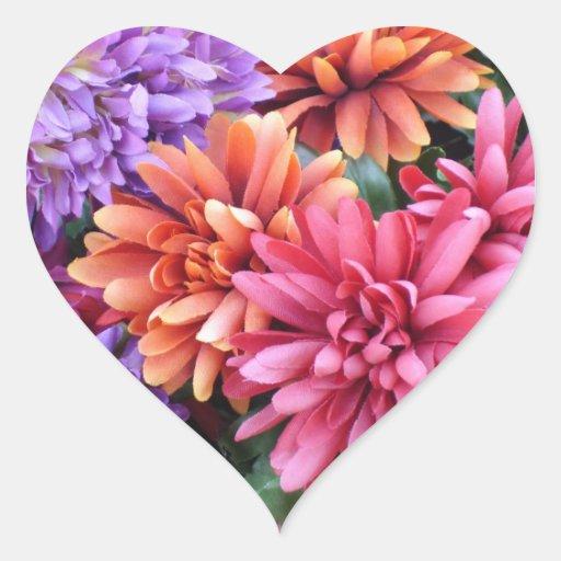 Flower Bursts Heart Sticker