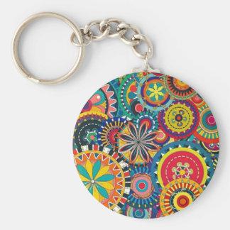 Flower Bursts Pinwheels Button Keychain