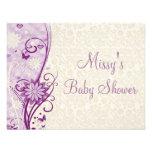 Flower & Butterfly Baby Shower Invitation