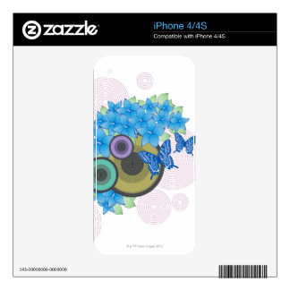 Flower Butterfly Skin For iPhone 4