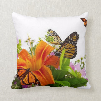 Flower Butterfly Throw Pillow