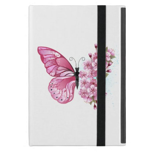 Flower Butterfly with Pink Sakura Case For iPad Mini