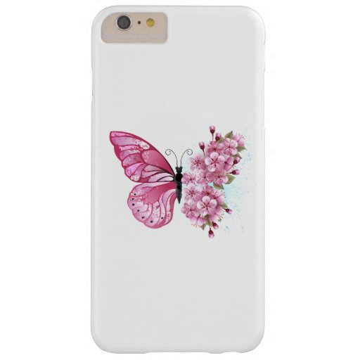 Flower Butterfly with Pink Sakura Barely There iPhone 6 Plus Case