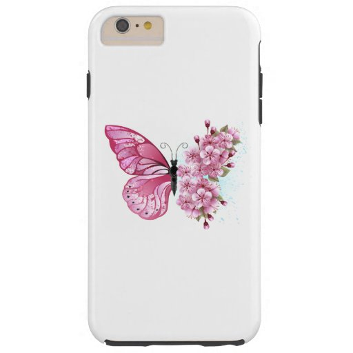 Flower Butterfly with Pink Sakura Tough iPhone 6 Plus Case