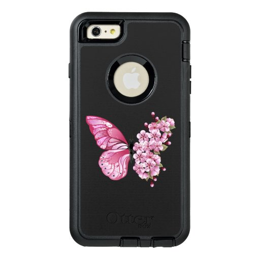 Flower Butterfly with Pink Sakura OtterBox Defender iPhone Case