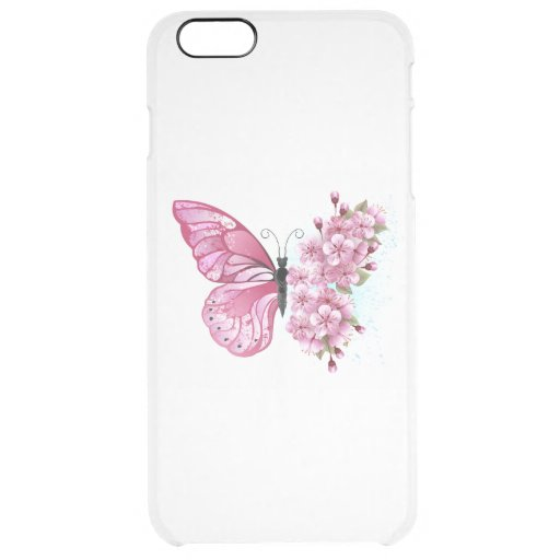 Flower Butterfly with Pink Sakura Clear iPhone 6 Plus Case
