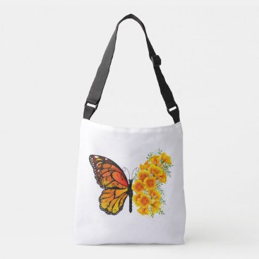 Flower Butterfly with Yellow California Poppy Crossbody Bag