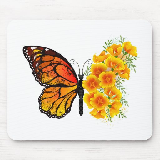 Flower Butterfly with Yellow California Poppy Mouse Pad