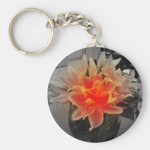 Flower button key chains